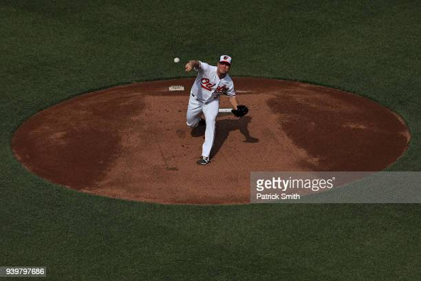 Starting pitcher Dylan Bundy of the Baltimore Orioles works the first inning against the Minnesota Twins in their Opening Day game at Oriole Park at...
