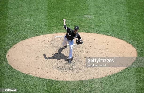 Starting pitcher Dylan Cease of the Chicago White Sox delivers the ball against the Detroit Tigers in his Major League debut at Guaranteed Rate Field...