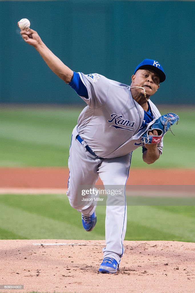 Starting pitcher Edinson Volquez #36 of the Kansas City Royals pitches during the first inning against the Cleveland Indians at Progressive Field on September 20, 2016 in Cleveland, Ohio.
