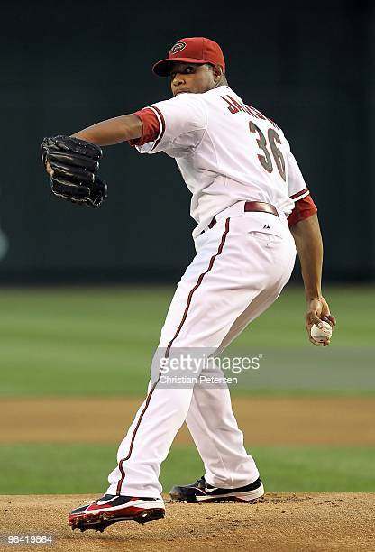Starting pitcher Edwin Jackson of the Arizona Diamondbacks pitches against the San Diego Padres during the major league baseball game at Chase Field...