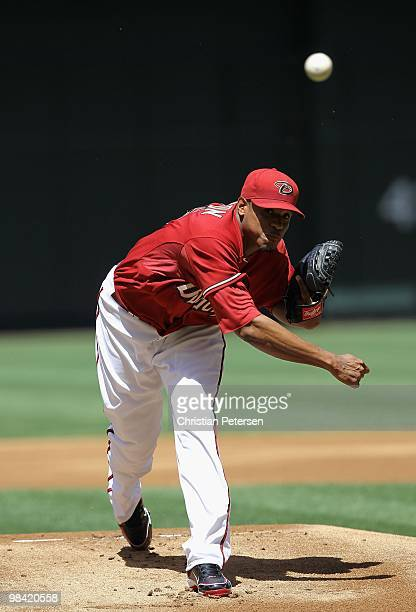 Starting pitcher Edwin Jackson of the Arizona Diamondbacks pitches against the Pittsburgh Pirates during the major league baseball game at Chase...
