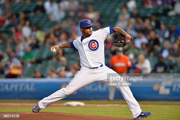 Starting pitcher Edwin Jackson of the Chicago Cubs delivers during the first inning against the Miami Marlins at Wrigley Field on September 3 2013 in...