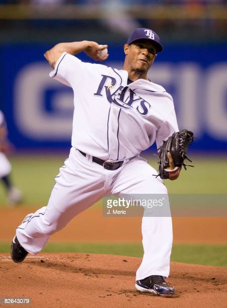 Starting pitcher Edwin Jackson of the Tampa Bay Rays pitches against the Toronto Blue Jays during the game on August 28, 2008 at Tropicana Field in...