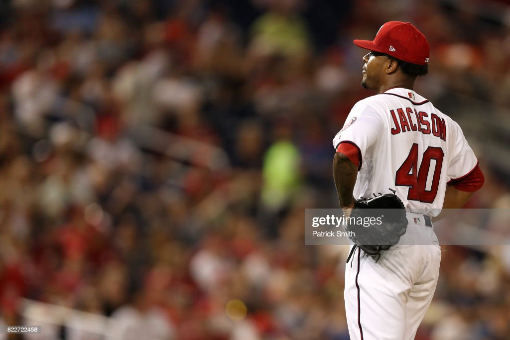 Starting pitcher Edwin Jackson #40 of the Washington Nationals looks on after allowing back to back home runs against the Washington Nationals during the fifth inning at Nationals Park on July 25, 2017 in Washington, DC.