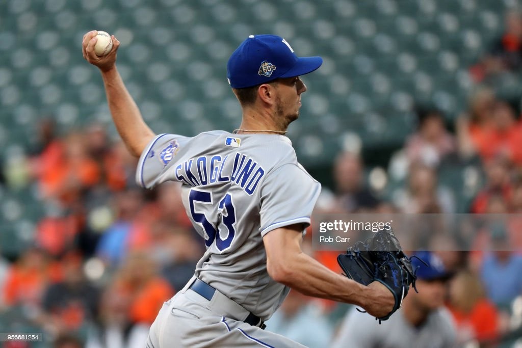 Starting pitcher Eric Skoglund #53 of the Kansas City Royals throws to a Baltimore Orioles batter in the first inning at Oriole Park at Camden Yards on May 9, 2018 in Baltimore, Maryland.