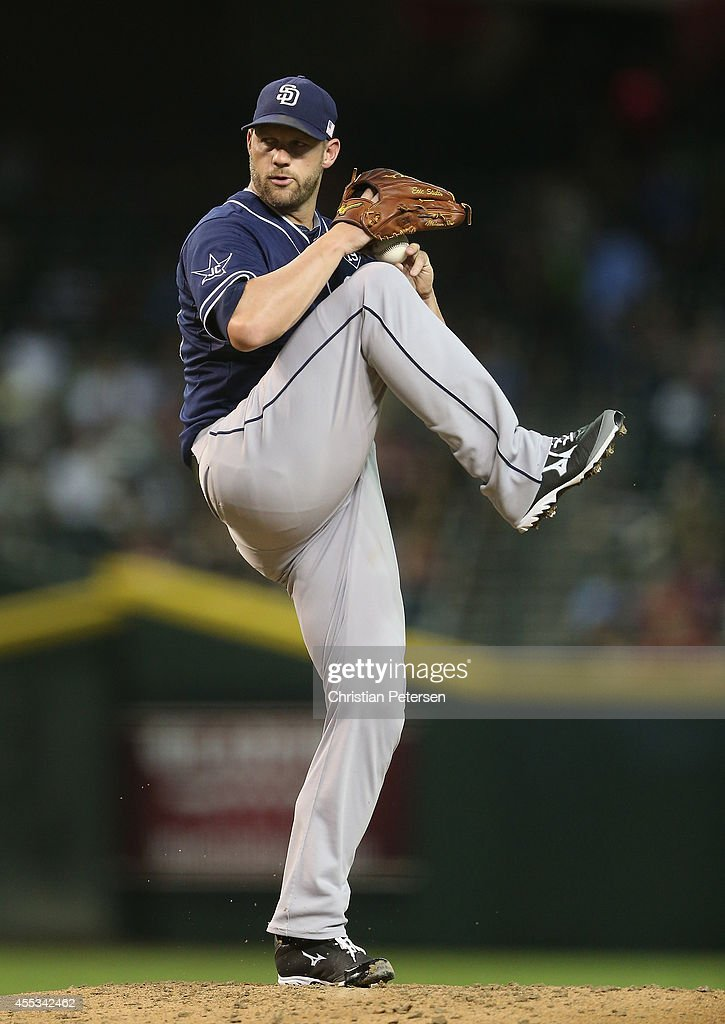 Starting pitcher Eric Stults #53 of the San Diego Padres pitches against the Arizona Diamondbacks during the MLB game at Chase Field on September 12, 2014 in Phoenix, Arizona.