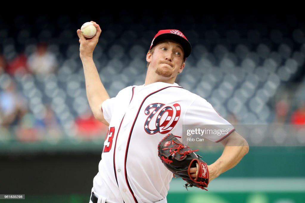 Starting pitcher Erick Fedde #23 of the Washington Nationals throws to a San Diego Padres batter in the first inning at Nationals Park on May 23, 2018 in Washington, DC.