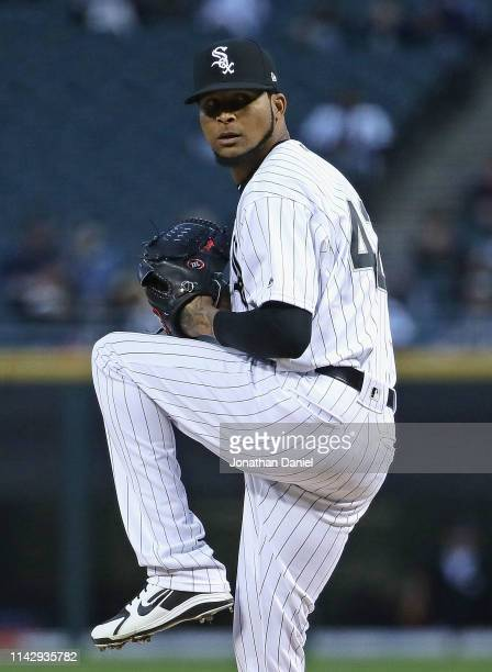 Starting pitcher Ervin Santana of the Chicago White Sox delivers the ball against the Kansas City Royals at Guaranteed Rate Field on April 15 2019 in...