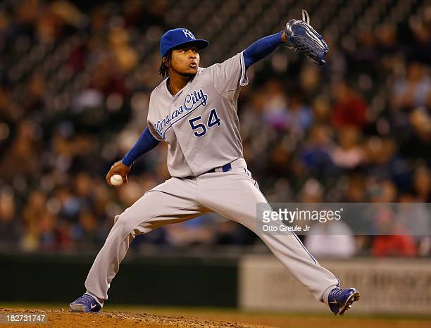 Starting pitcher Ervin Santana of the Kansas City Royals pitches against the Seattle Mariners at Safeco Field on September 25 2013 in Seattle...