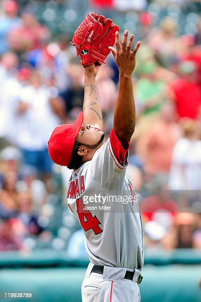 Starting pitcher Ervin Santana of the Los Angeles Angels of Anaheim throws up his arms in celebration after finishing a nohitter against the...