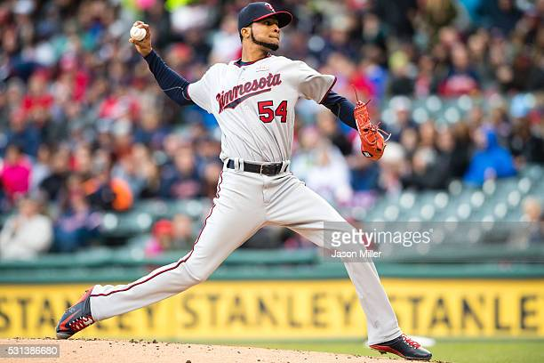 Starting pitcher Ervin Santana of the Minnesota Twins pitches during the first inning against the Cleveland Indians at Progressive Field on May 14...