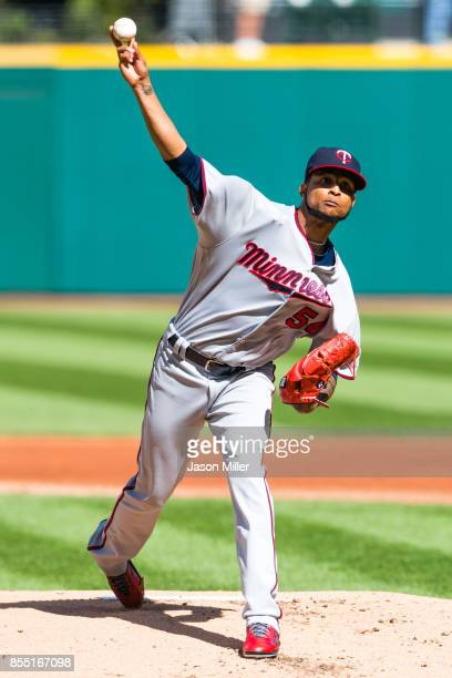Starting pitcher Ervin Santana of the Minnesota Twins pitches during the first inning against the Cleveland Indians at Progressive Field on September...