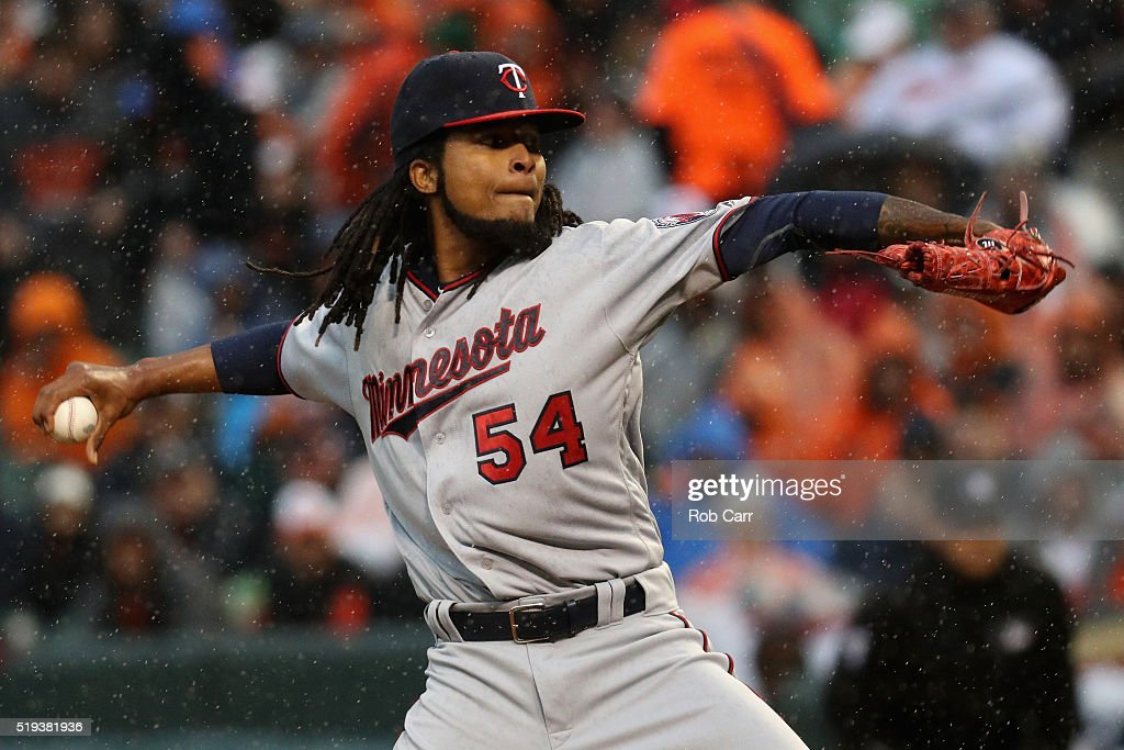 Starting pitcher Ervin Santana #54 of the Minnesota Twins throws to a Baltimore Orioles batter in the second inning at Oriole Park at Camden Yards on April 4, 2016 in Baltimore, Maryland.