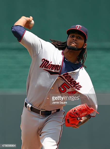 Starting pitcher Ervin Santana of the Minnesota Twins warms up prior to the game against the Kansas City Royals at Kauffman Stadium on July 5 2015 in...