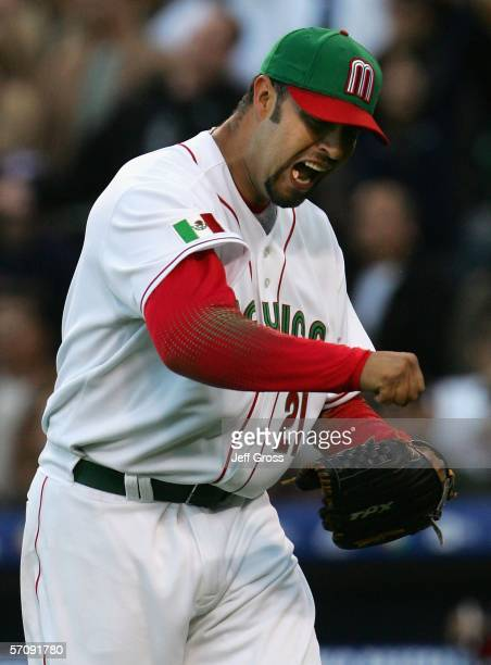 Starting pitcher Esteban Loaiza of Team Mexico celebrates an out against Team Japan during the Round 2 Pool 2 Game of the World Baseball Classic at...
