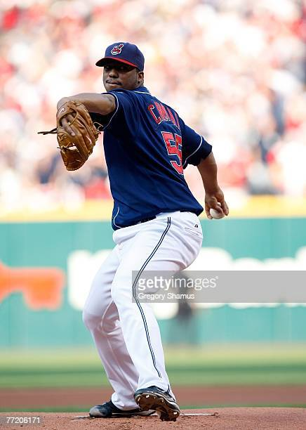 Starting pitcher Fausto Carmona of the Cleveland Indians against the New York Yankees during Game Two of the American League Divisional Series at...