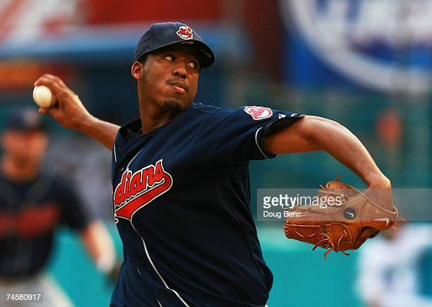 Starting pitcher Fausto Carmona of the Cleveland Indians pitches against the Florida Marlins during interleague play at Dolphin Stadium on June12...
