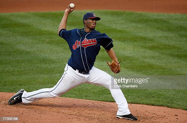 Starting pitcher Fausto Carmona of the Cleveland Indians throws a pitch against the New York Yankees during Game Two of the American League...