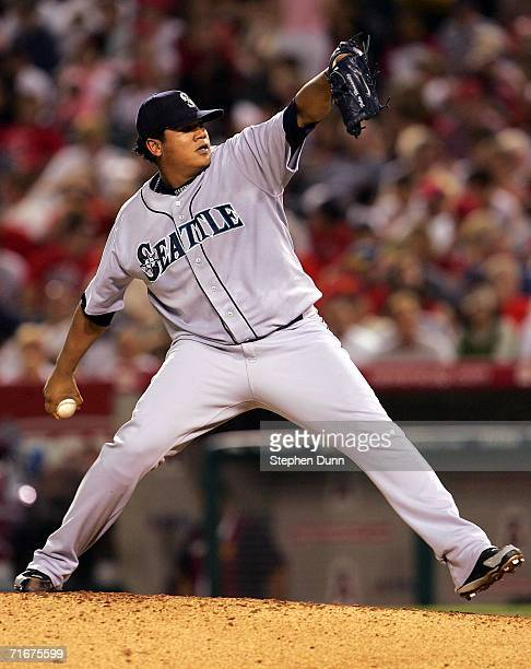 Starting pitcher Felix Hernanadez of the Seattle Mariners throws a pitch against the Los Angeles Angels of Anaheim at Angel Stadium August 18 2006 in...