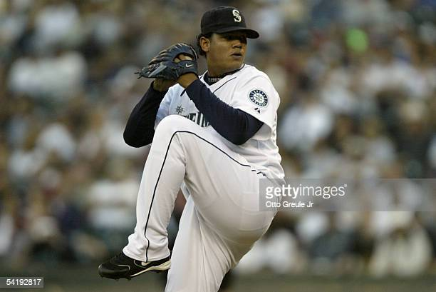 Starting pitcher Felix Hernandez of the Seattle Mariners delivers a pitch against the New York Yankees on August 31 2005 at Safeco Field in Seattle...