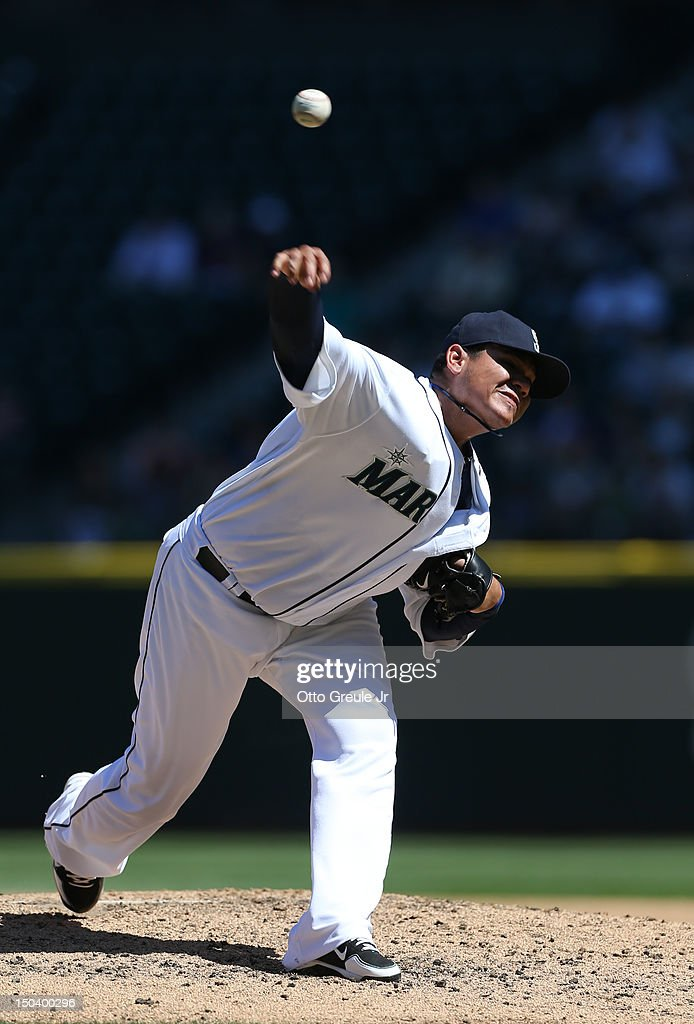 Starting pitcher Felix Hernandez #34 of the Seattle Mariners pitches in a 1-0 defeat of the Tampa Bay Rays at Safeco Field on August 15, 2012 in Seattle, Washington. Hernandez threw the 23rd perfect game in Major League Baseball history.