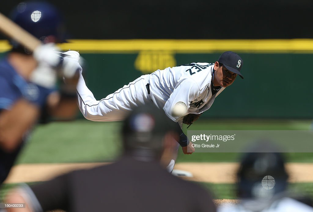 Starting pitcher Felix Hernandez #34 of the Seattle Mariners pitches in the sixth inning of a 1-0 defeat of the Tampa Bay Rays at Safeco Field on August 15, 2012 in Seattle, Washington. Hernandez threw the 23rd perfect game in Major League Baseball history.
