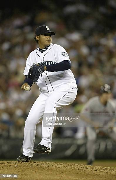 Starting Pitcher Felix Hernandez of the Seattle Mariners pitches during the game against the Minnesota Twins at Safeco Field on August 9 2005 in...
