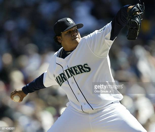 Starting pitcher Felix Hernandez of the Seattle Mariners pitches against the Detroit Tigers on April 23 2006 at Safeco Field in Seattle Washington