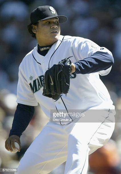 Starting pitcher Felix Hernandez of the Seattle Mariners pitches against the Detroit Tigers during the MLB game on April 23, 2006 at Safeco Field in...