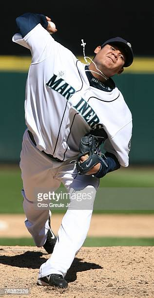 Starting pitcher Felix Hernandez of the Seattle Mariners pitches against the Los Angeles Angels of Anaheim at Safeco Field August 29 2007 in Seattle...