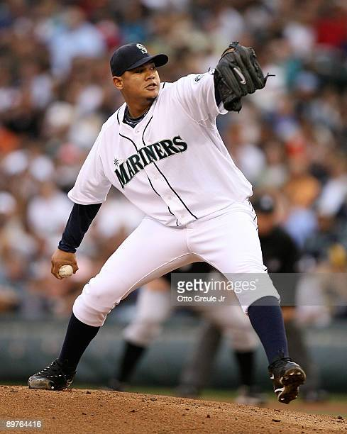 Starting pitcher Felix Hernandez of the Seattle Mariners pitches against the Chicago White Sox on August 12, 2009 at Safeco Field in Seattle,...