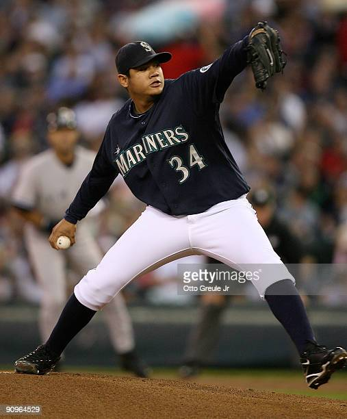 Starting pitcher Felix Hernandez of the Seattle Mariners pitches against the New York Yankees on September 18 2009 at Safeco Field in Seattle...