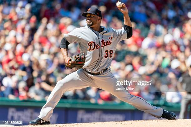 Starting pitcher Francisco Liriano of the Detroit Tigers pitches during the first inning against the Cleveland Indians at Progressive Field on...