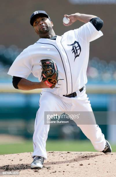 Starting pitcher Francisco Liriano of the Detroit Tigers pitches against the Kansas City Royals during the second inning at Comerica Park on April 2...