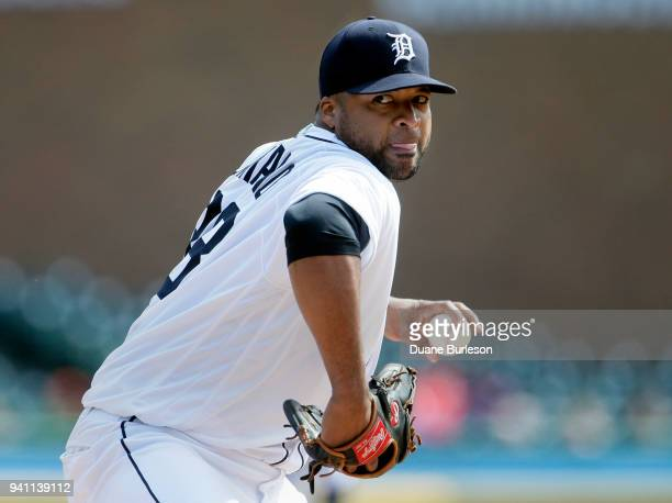 Starting pitcher Francisco Liriano of the Detroit Tigers pitches against the Kansas City Royals during the third inning at Comerica Park on April 2...