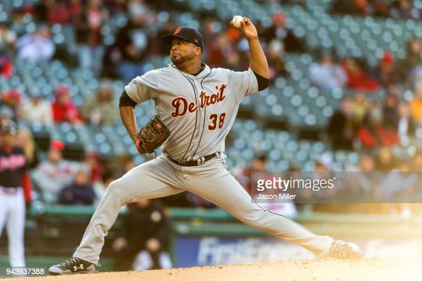 Starting pitcher Francisco Liriano of the Detroit Tigers pitches during the first inning against the Cleveland Indians at Progressive Field on April...