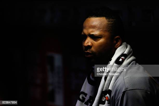 Starting pitcher Francisco Liriano of the Pittsburgh Pirates looks on from the dugout during the first inning of the MLB game against the Arizona...