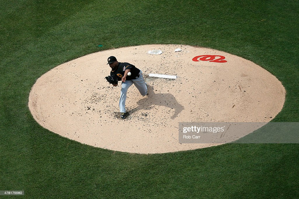 Starting pitcher Francisco Liriano #47 of the Pittsburgh Pirates throws to a Washington Nationals batter at Nationals Park on June 20, 2015 in Washington, DC.