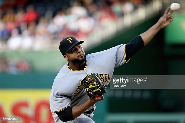 Starting pitcher Francisco Liriano of the Pittsburgh Pirates throws to a Washington Nationals batter in the first inning at Nationals Park on July 15...