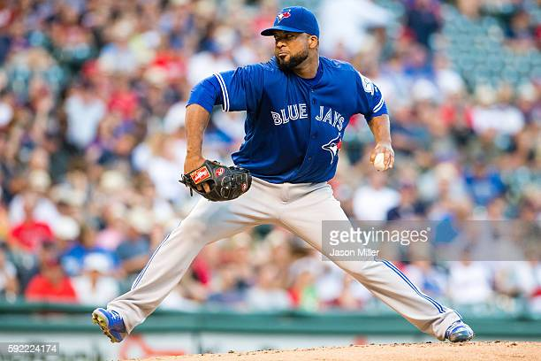 Starting pitcher Francisco Liriano of the Toronto Blue Jays pitches during the first inning against the Cleveland Indians at Progressive Field on...