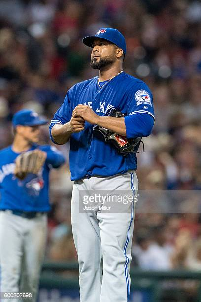 Starting pitcher Francisco Liriano of the Toronto Blue Jays reacts during the sixth inning after giving up a run and a walk to the Cleveland Indians...