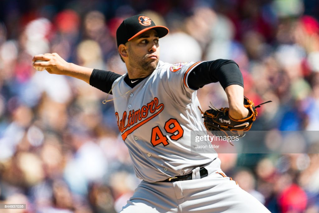Starting pitcher Gabriel Ynoa #49 of the Baltimore Orioles pitches during the second inning against the Cleveland Indians at Progressive Field on September 9, 2017 in Cleveland, Ohio.