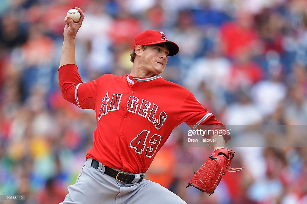 Starting pitcher Garrett Richards #43 of the Los Angeles Angels of Anaheim delivers a pitch in the third inning against the Philadelphia Phillies at Citizens Bank Park on May 14, 2014 in Philadelphia, Pennsylvania.