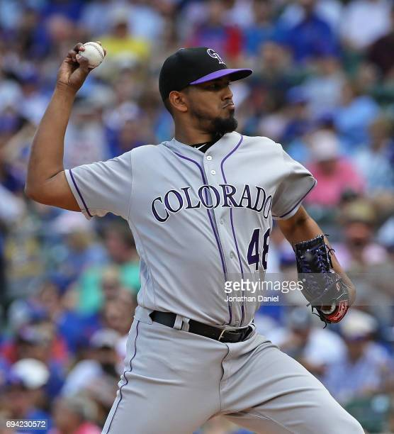 Starting pitcher German Marquez of the Colorado Rockies delivers the ball against the Chicago Cubs at Wrigley Field on June 9 2017 in Chicago Illinois