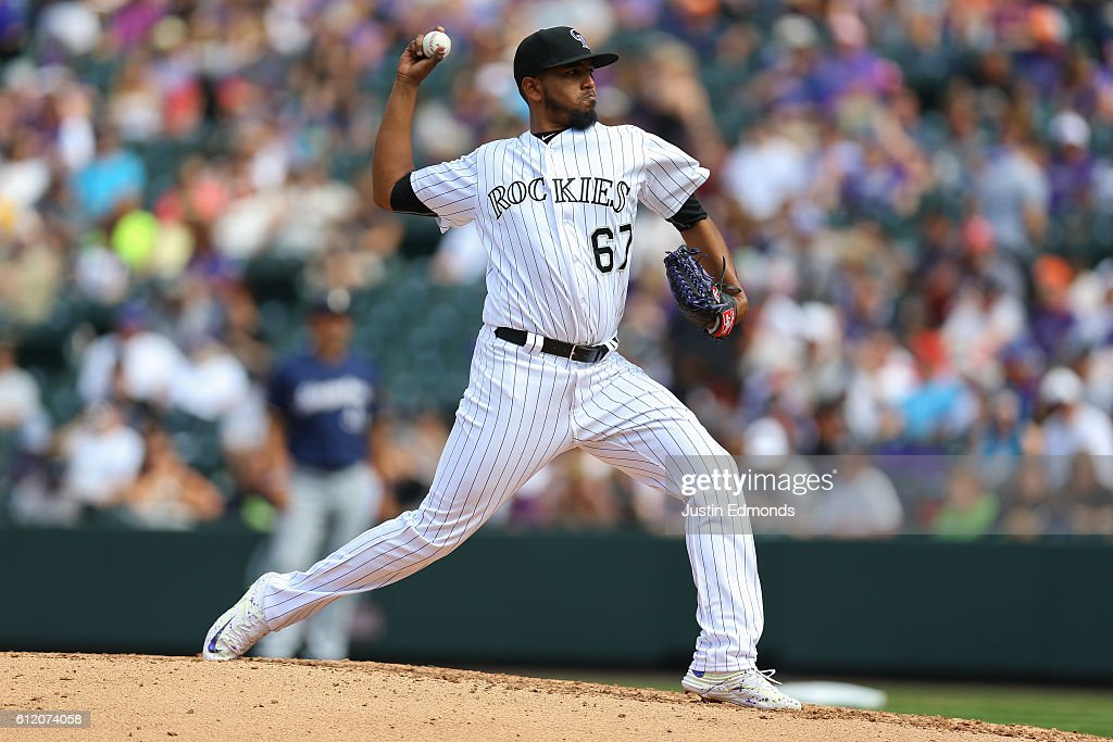 Starting pitcher German Marquez #67 of the Colorado Rockies delivers to home plate during the fourth inning against the Milwaukee Brewers at Coors Field on October 2, 2016 in Denver, Colorado.