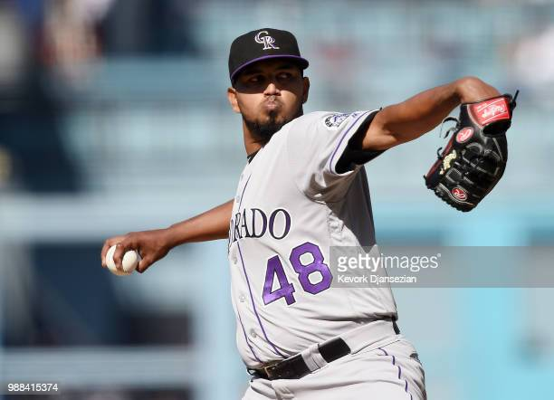 Starting pitcher German Marquez of the Colorado Rockies throws a pitch against Los Angeles Dodgers during the first inning at Dodger Stadium on June...