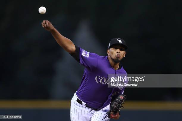 Starting pitcher German Marquez of the Colorado Rockies throws in the first inning against the Philadelphia Phillies at Coors Field on September 26...