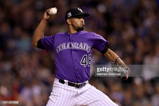Starting pitcher German Marquez of the Colorado Rockies throws in the fourth inning against the Philadelphia Phillies at Coors Field on September 26...