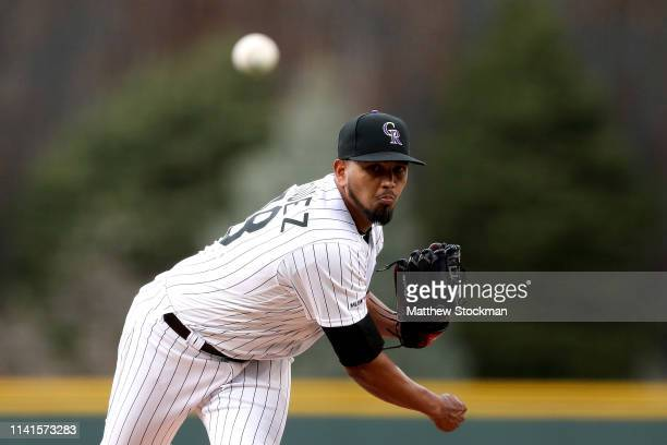 Starting pitcher German Marquez of the Colorado Rockies throws in the first inning against the Atlanta Braves at Coors Field on April 09 2019 in...