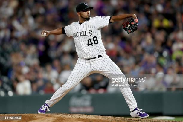 Starting pitcher German Marquez of the Colorado Rockies throws in the fifth inning against the Atlanta Braves at Coors Field on April 09 2019 in...